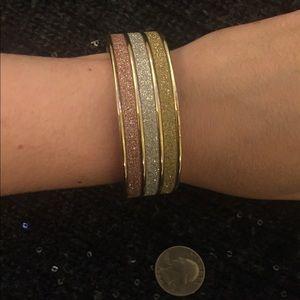 Jewelry - Tritone tricolor sparkle glittery bangle bracelet